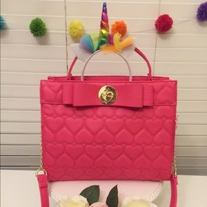 Betsey Johnson Pink Quilted Hearts Purse NWT
